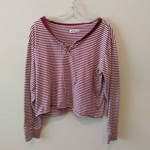 Hollister Striped Lace-up Front Long Sleeves Top